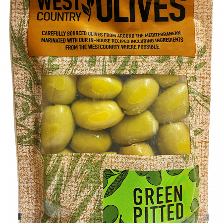 Green Pitted Olives in Packaging by West Country Olives