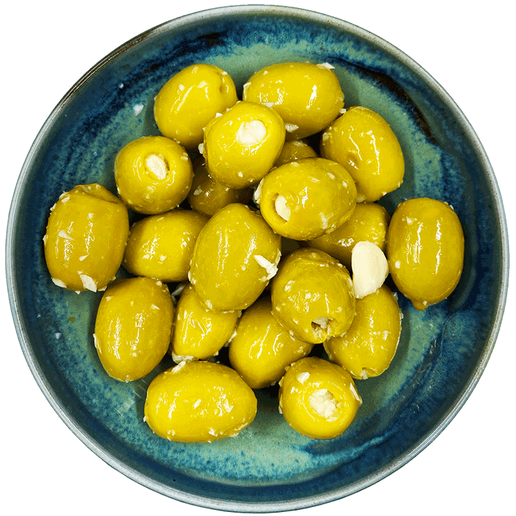 Hand Stuffed Garlic Olives West Country Olives