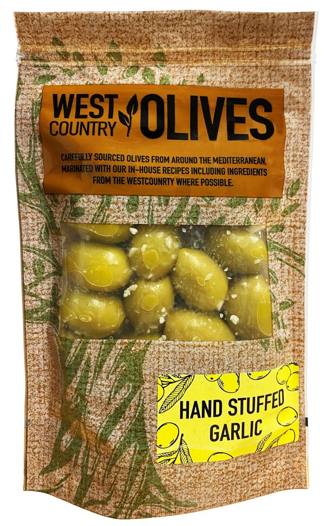 Hand-Stuffed Garlic Olives in Packaging by West Country Olives