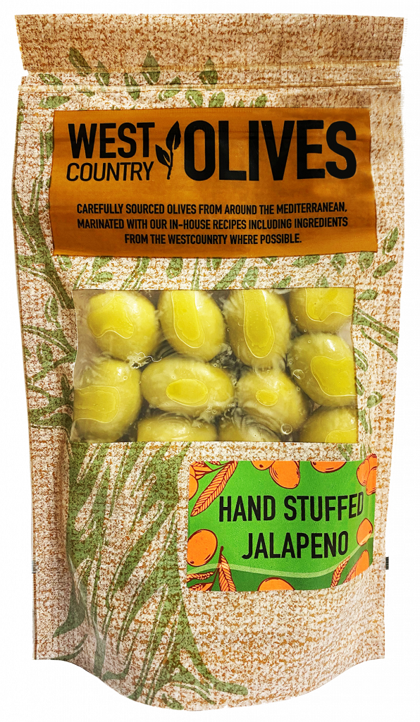 Hand Stuffed Jalapeno Olives by West Country Olives