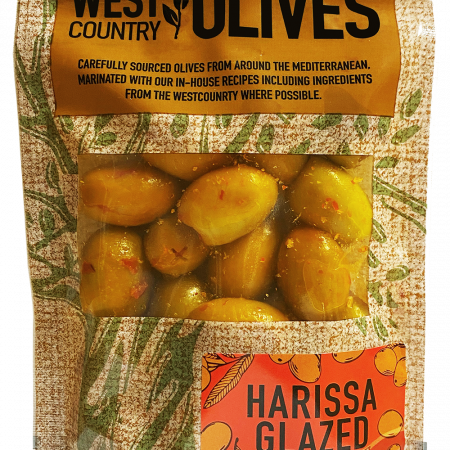 Harissa Glazed Olives in Packaging by West Country Olives