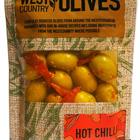 Hot Chilli Olives in Packaging by West Country Olives
