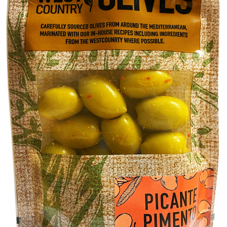 Picante Pimento Olives by West Country Olives