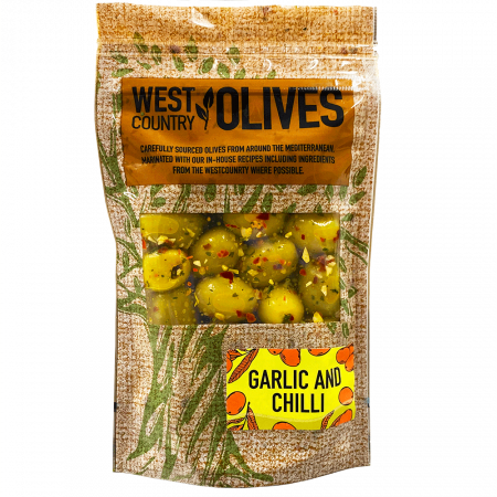 Garlic & Chilli Olives In Pack West Country Olives