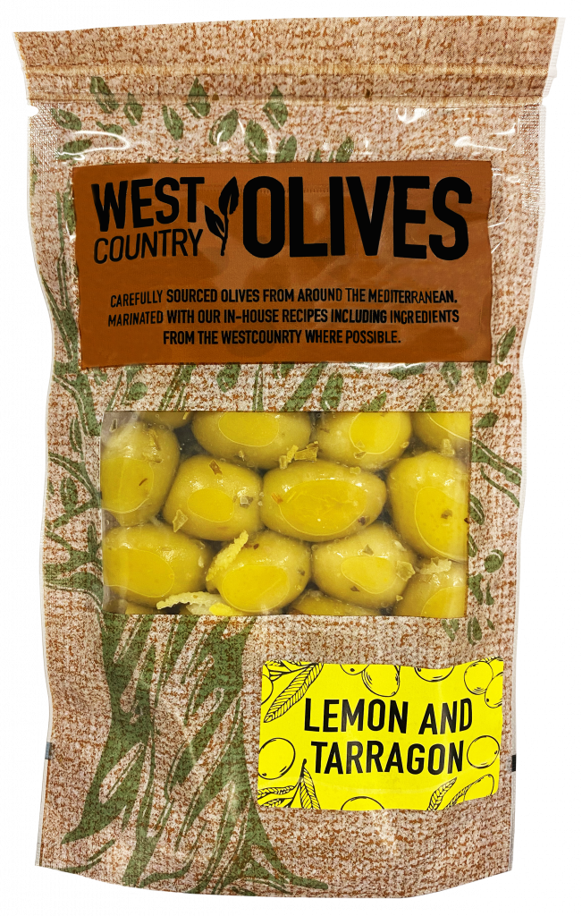 Lemon & Tarragon green olives in pouches west country olives